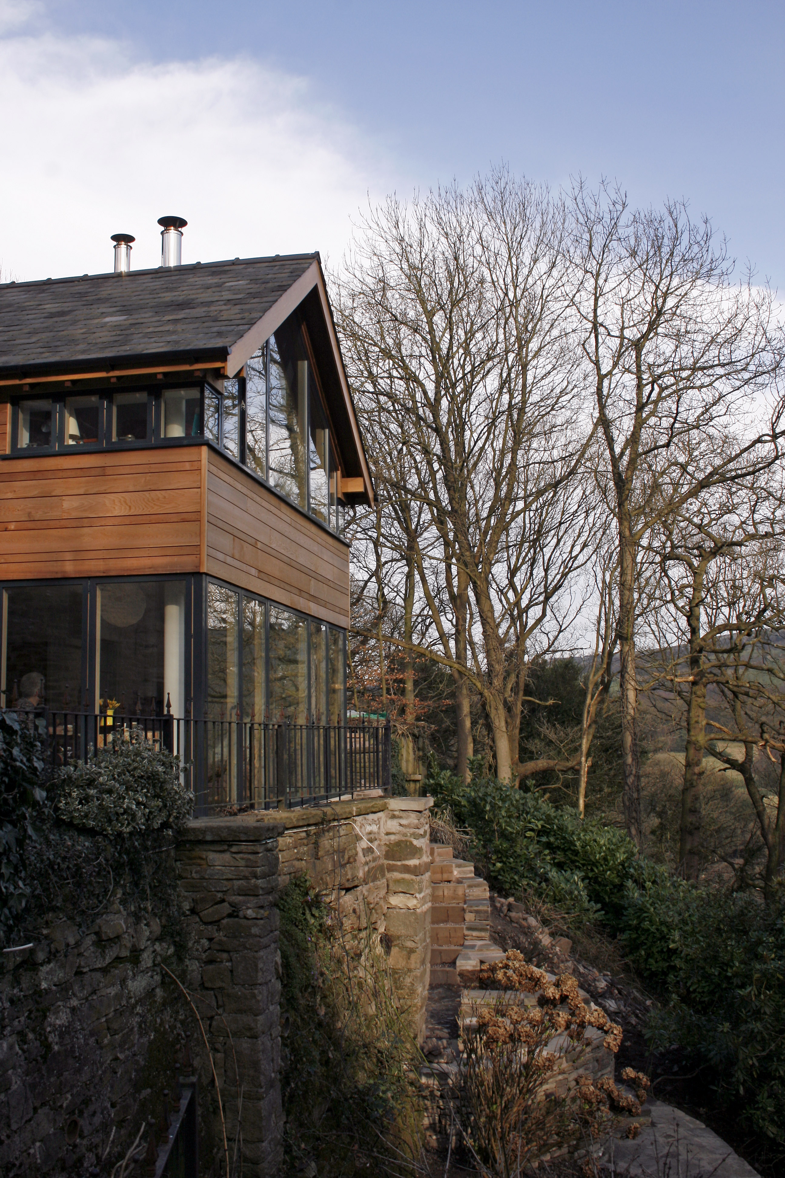 Timber extension to stone cottage