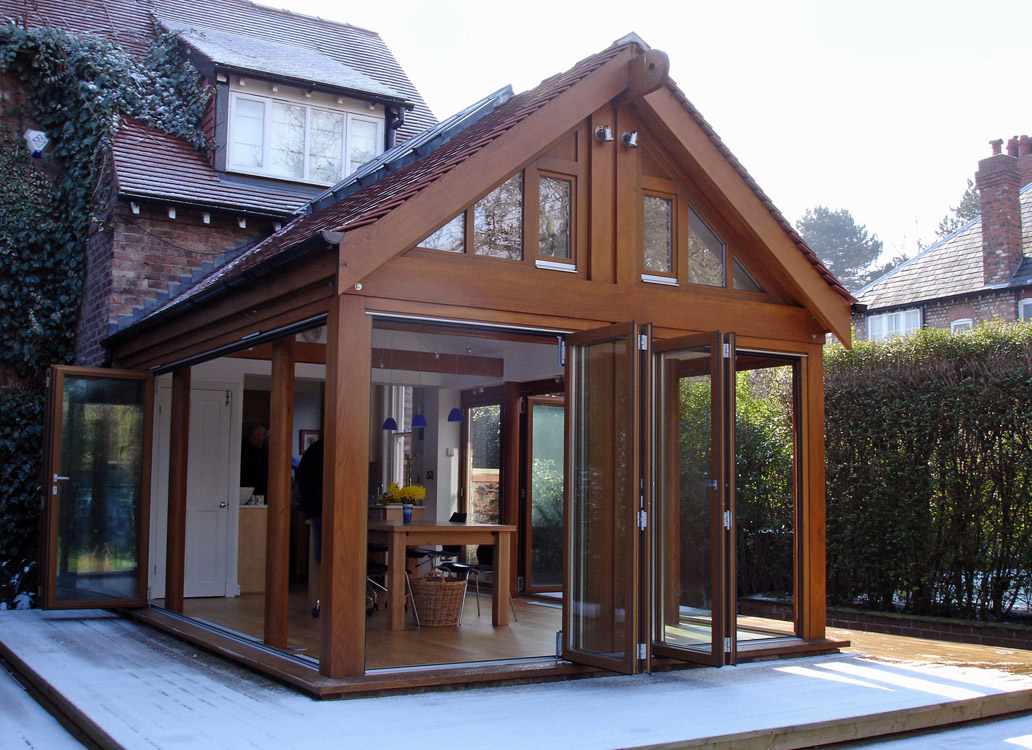 Oak Glass Room in Cheshire with sliding folding doors