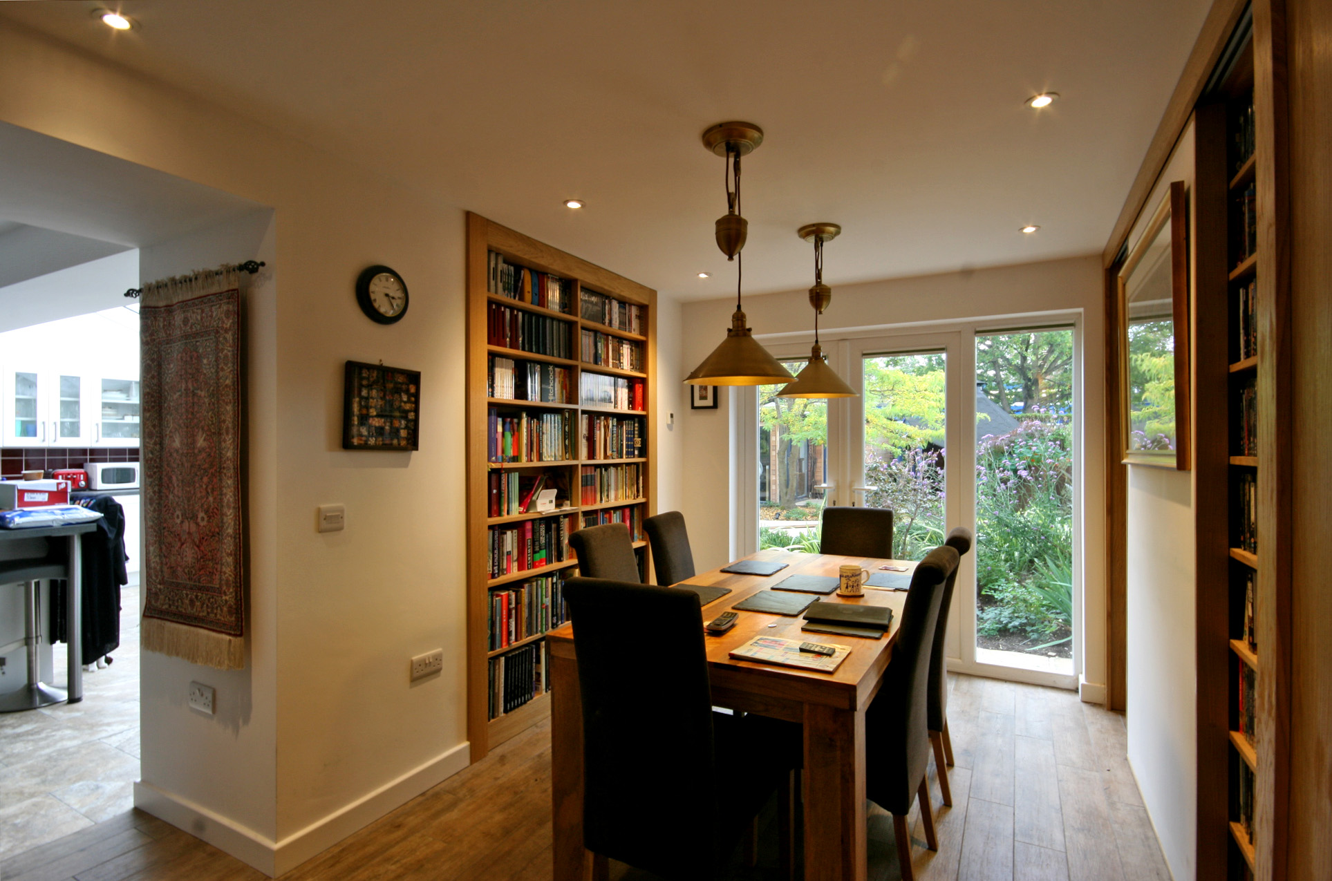 Dining room with built in book cases