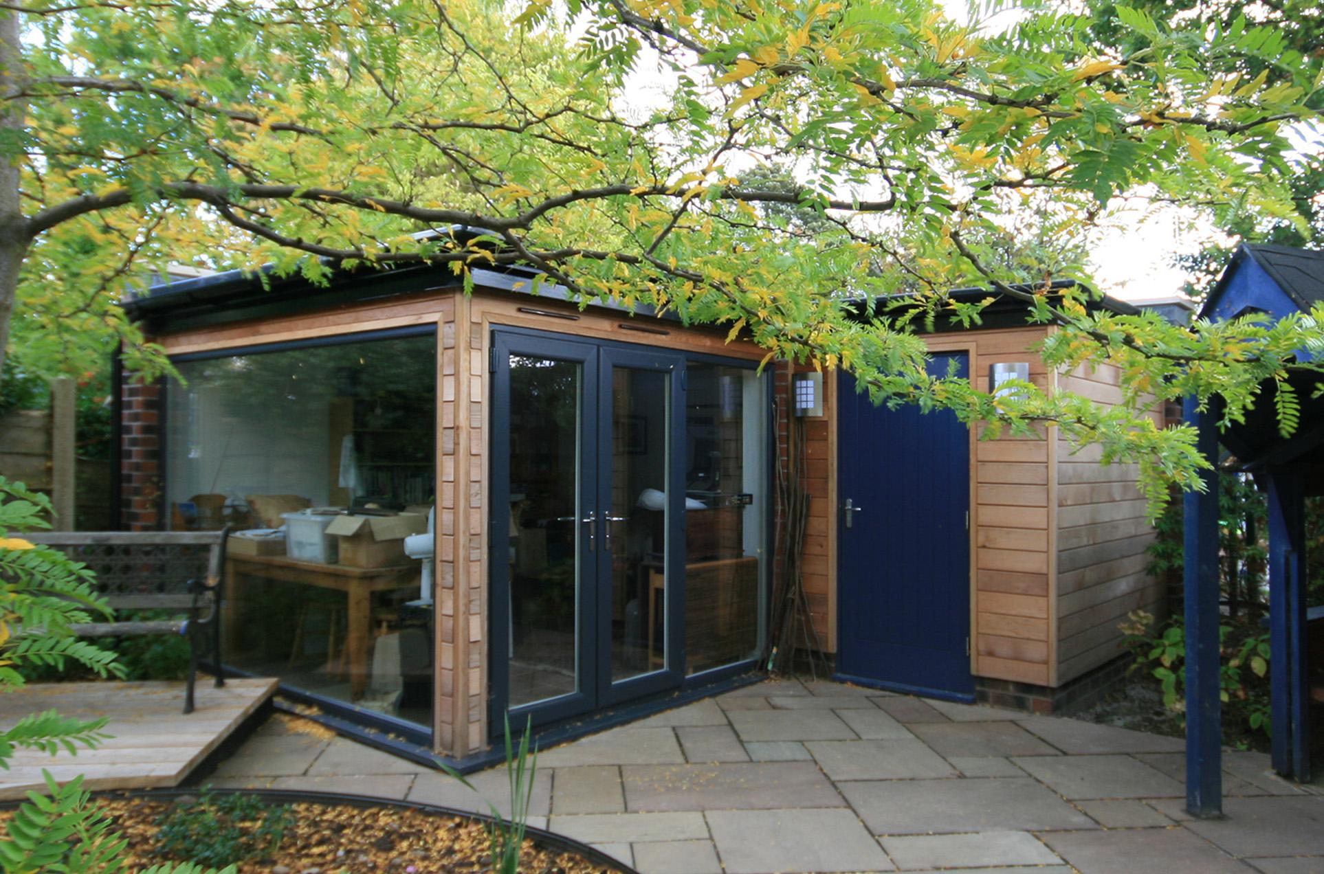 Timber clad garden building