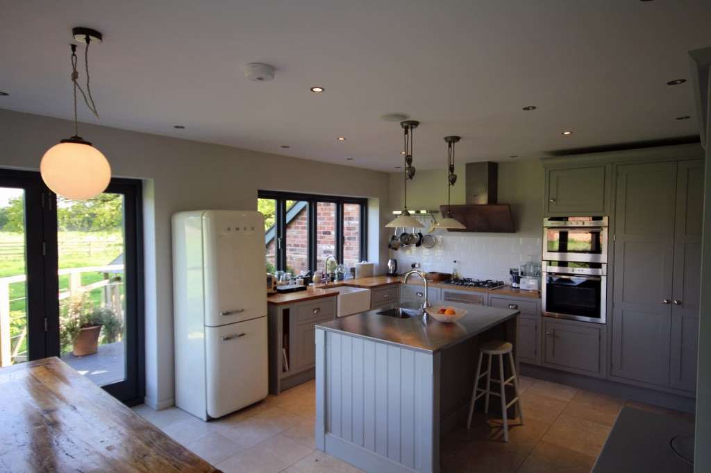 View of kitchen from dining area