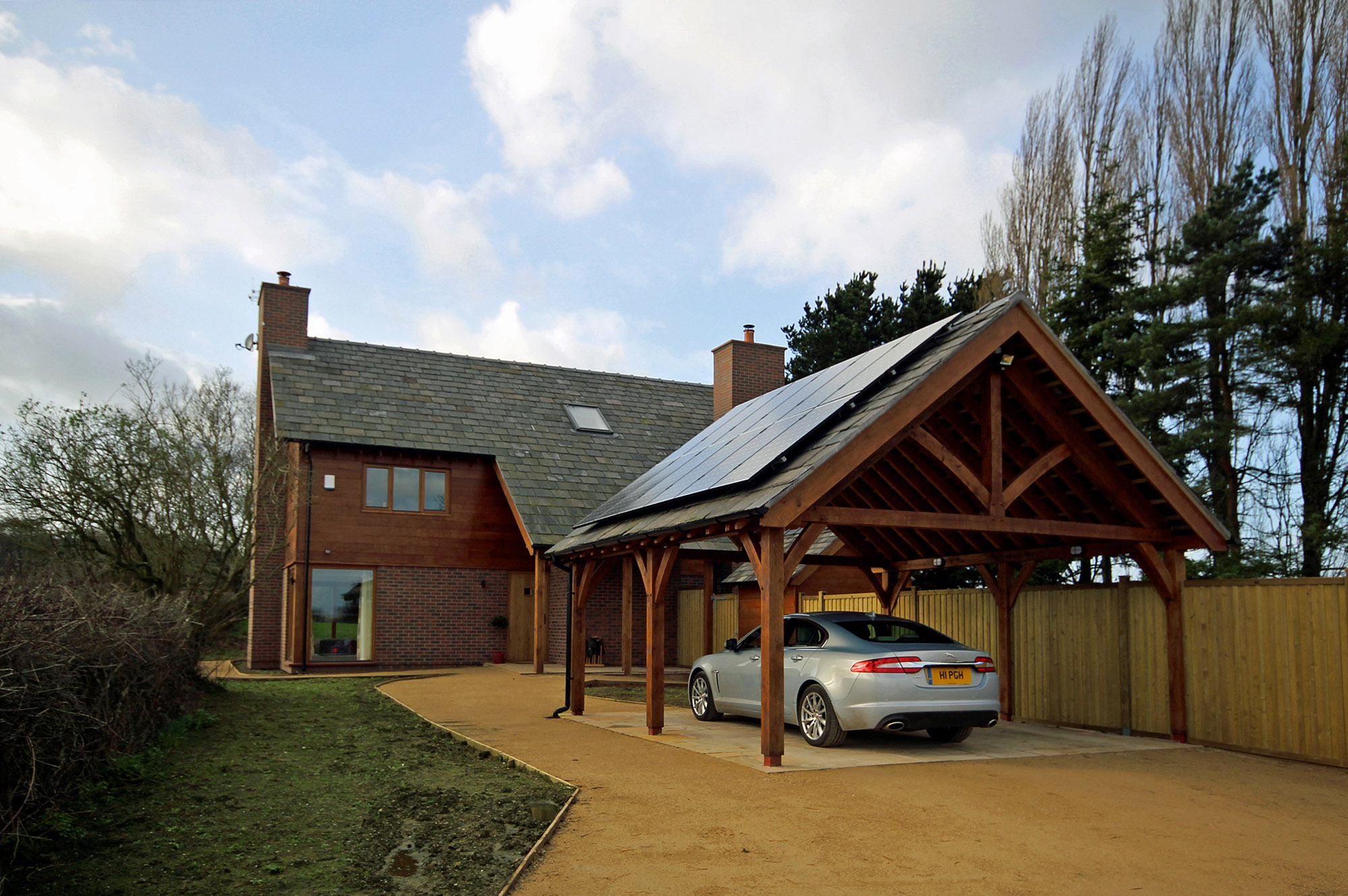 The oak framed carport at the front of Top Mill