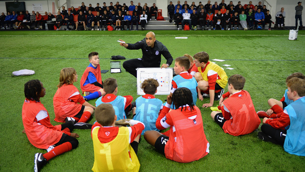 BURTON-UPON-TRENT, ENGLAND - DECEMBER 28: Pav Singh talks to the players during the Youth Mod 3 Coaching Course event at St Georges Park on December 28, 2015 in Burton-upon-Trent, England. (Photo by Tony Marshall - The FA/The FA via Getty Images)