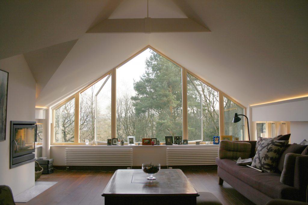 SanSanders House Living room triangular windowders House Living room triangular window